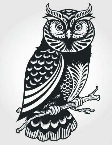 New Owl On Branch Tattoo Print