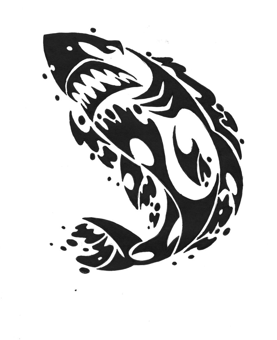 New Release Tribal Shark Tattoo Design