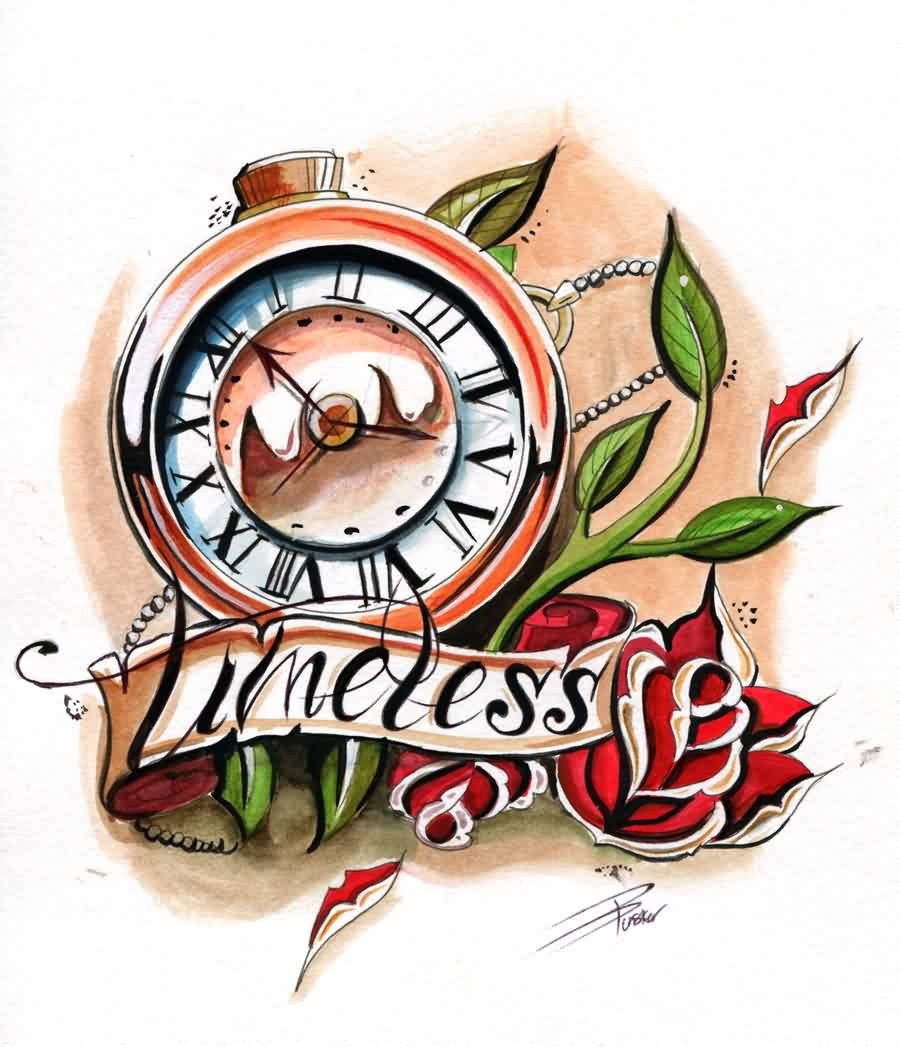 New Timeless Clock And Roses Tattoo Design