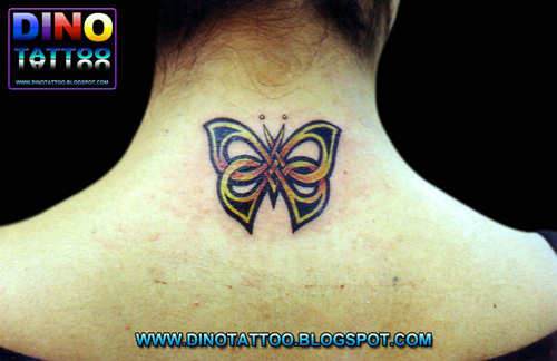 New Tribal 3D Butterfly Tattoo On Back Neck