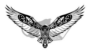 New Tribal Flying Crow Tattoo Design