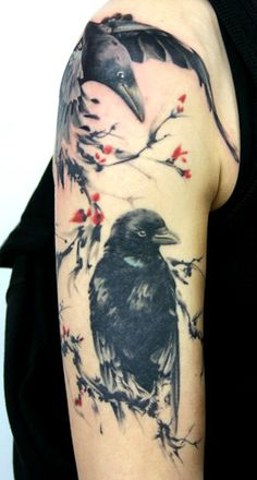 Nice Black Crow Tattoos On Arm