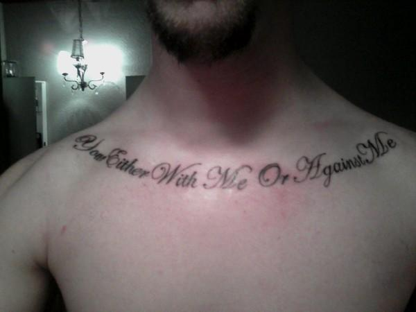 Nice Black Lettering Tattoo On Collarbone