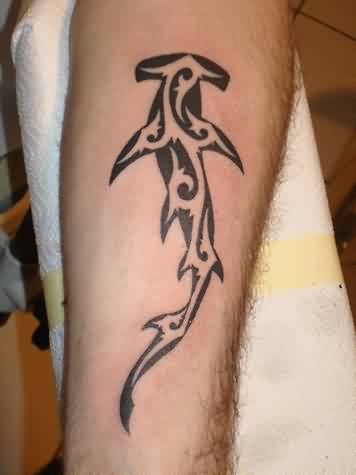 Nice Black Tribal Hammerhead Shark Tattoo On Forearm