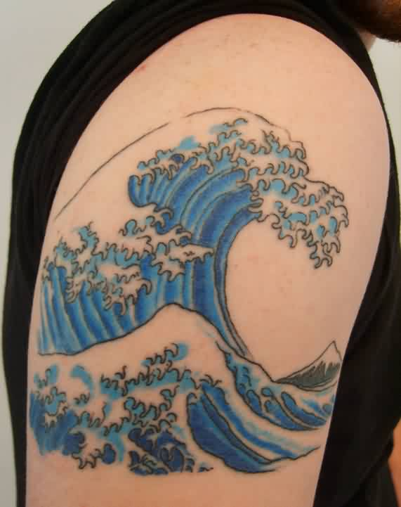 Nice Blue Wave Tattoo On Biceps For Guys
