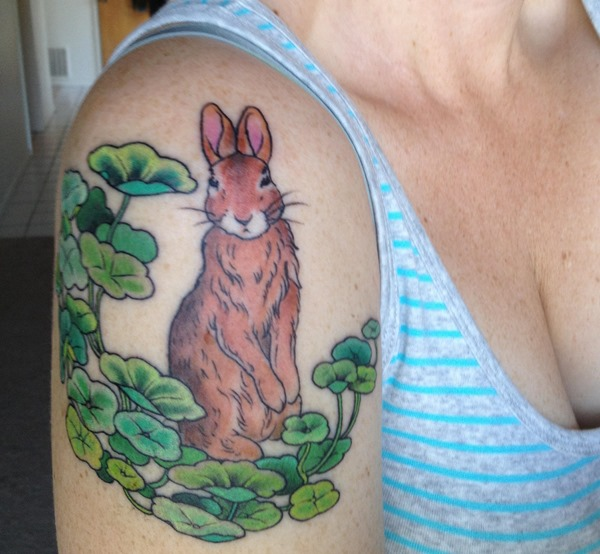 Nice Brown Rabbit Tattoo On Shoulder