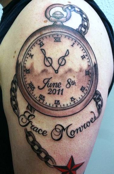 Nice Clock Tattoo With Nautical Star On Shoulder