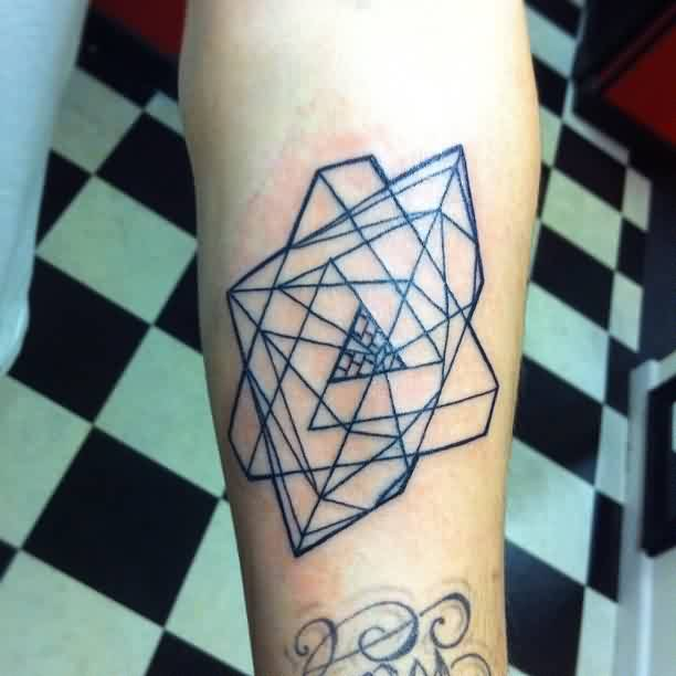Nice Geometric Triangle Tattoos On Arm