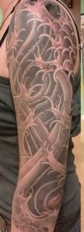 Nice Grey Japanese Waves Tattoos On Sleeve
