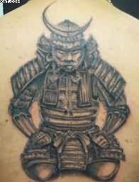Nice Japanese Warrior Tattoo On Upper Back