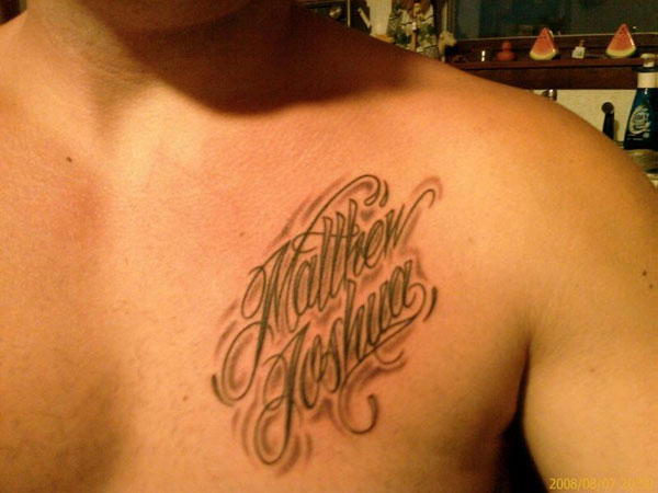 Nice Name Tattoo Below Collarbone