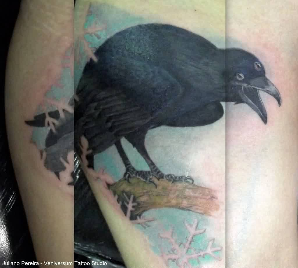 Nice Realistic Shouting Crow Tattoo