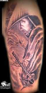 Nice Samurai Warrior Tattoo For Arm