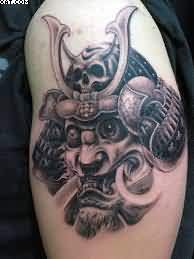 Nice Samurai Warrior Tattoo For Biceps