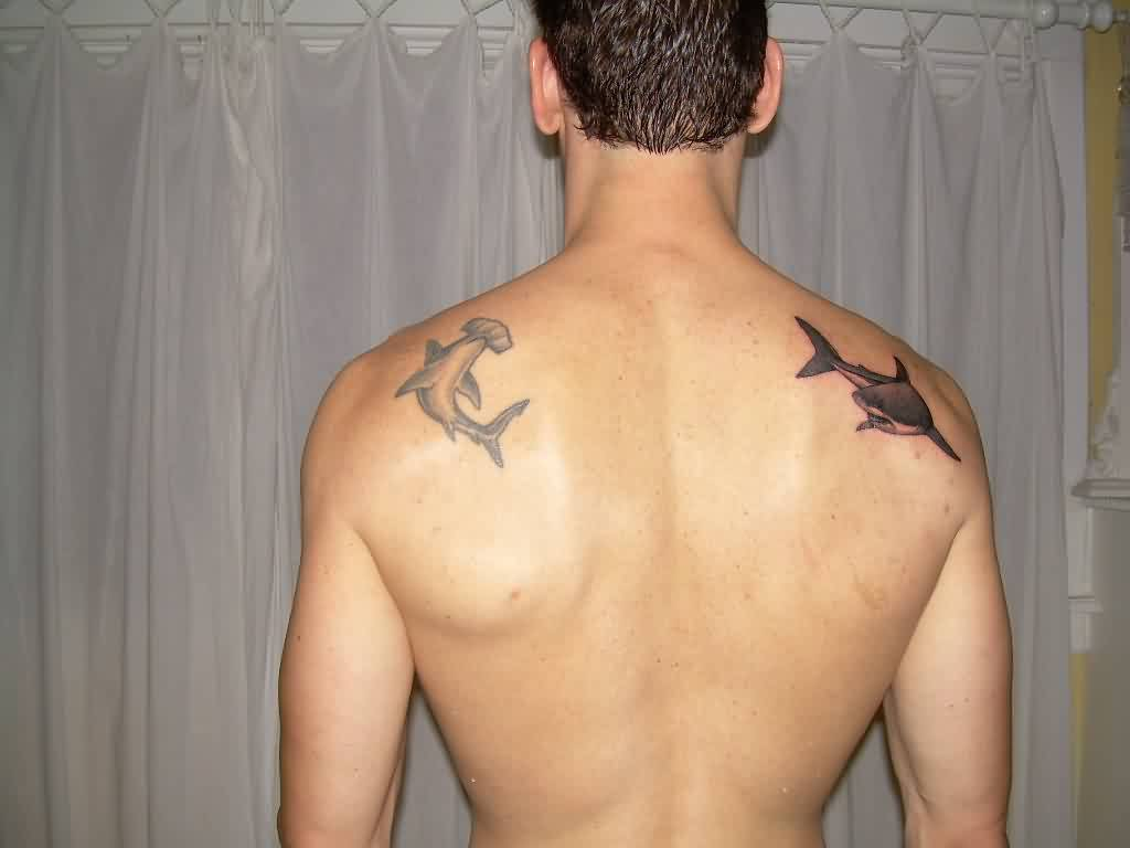 Nice Shark Tattoos On Back Of Shoulders