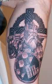 Nice Viking Warrior Tattoo For Leg