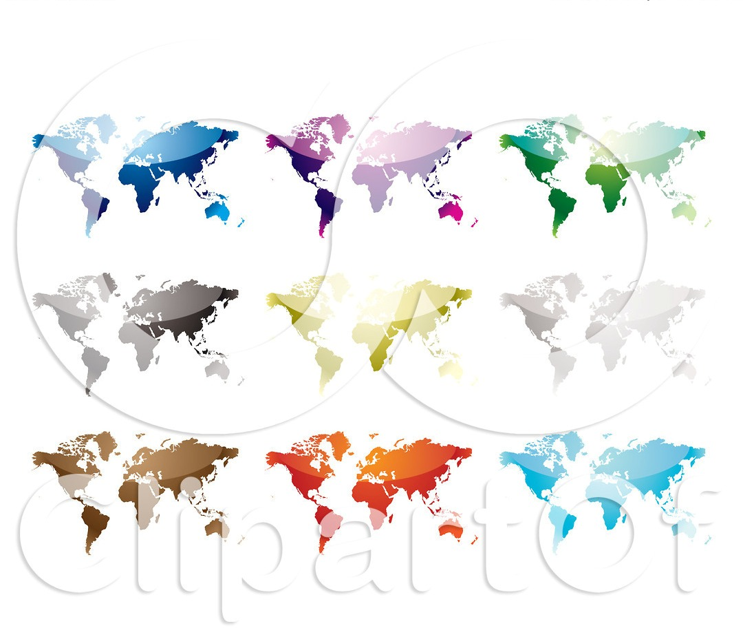 Nine Colorful World Maps Tattoo Design On White Background