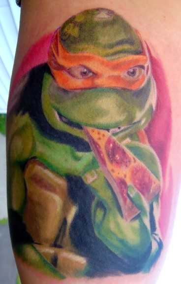 Ninja Turtle Eating Pizza Tattoo