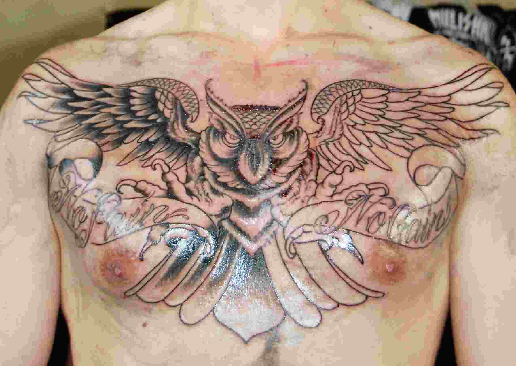 No Pain No Gain Owl Tattoo On Chest