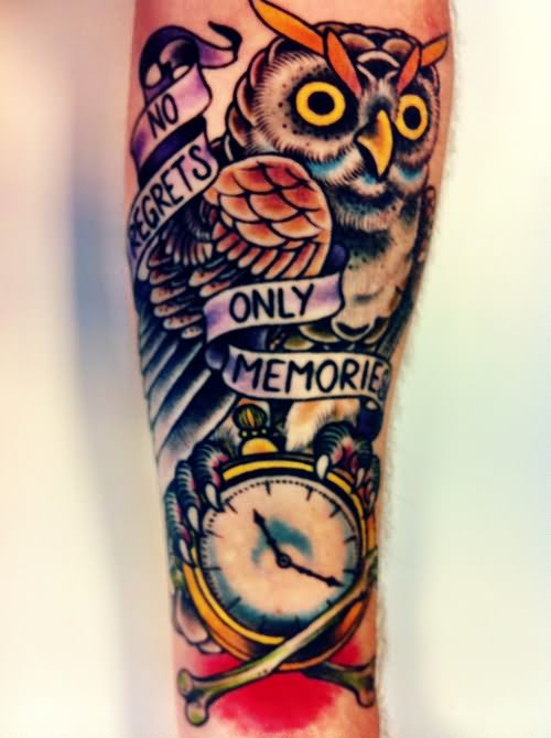 No Regrets Only Memories Owl Tattoo On Sleeve