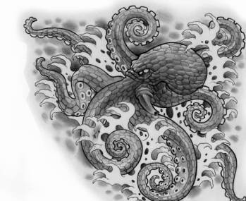 Octopus In Waves Tattoo Drawing (2)