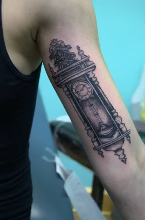 Old Grandfather Clock Tattoo On Arm