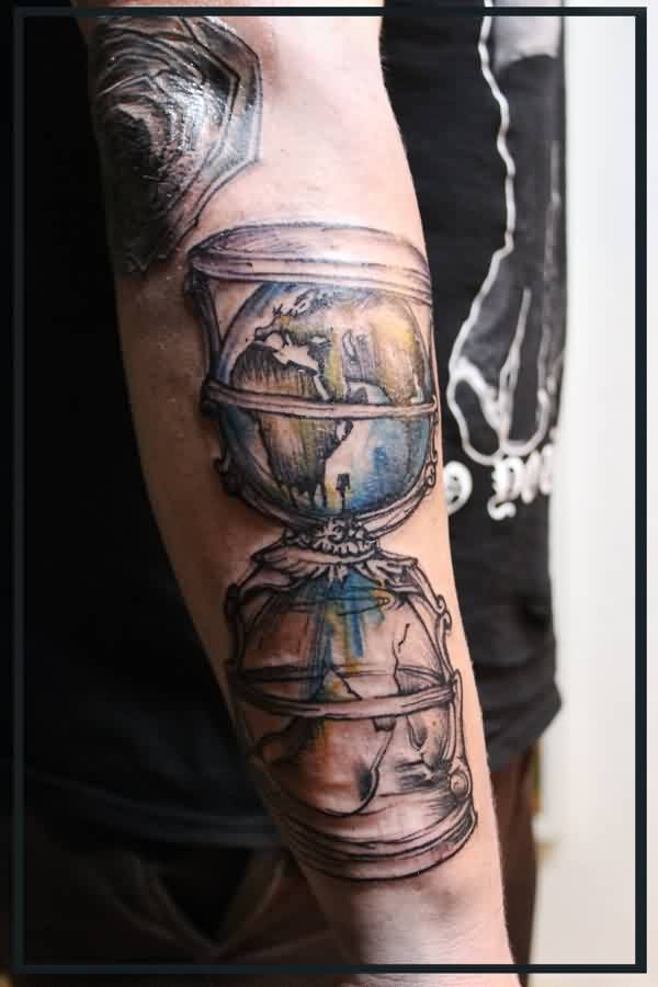 Old Sandclock Tattoo On Arm