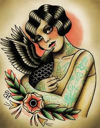 Old School Girl With Crow Tattoo Flash