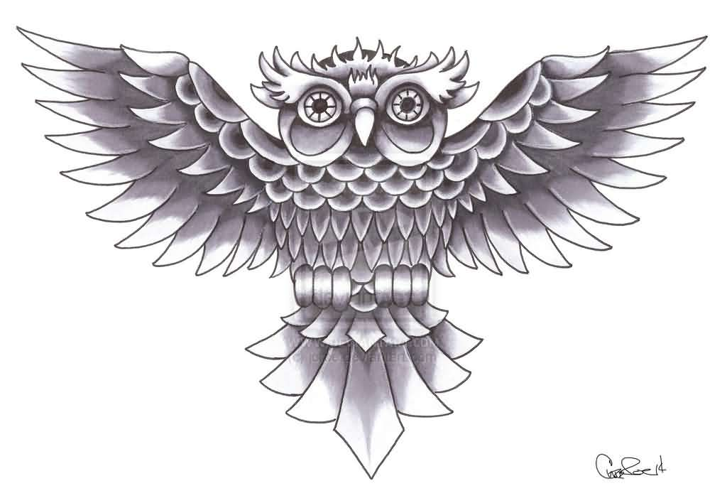 Old School Grey Owl Tattoo Design