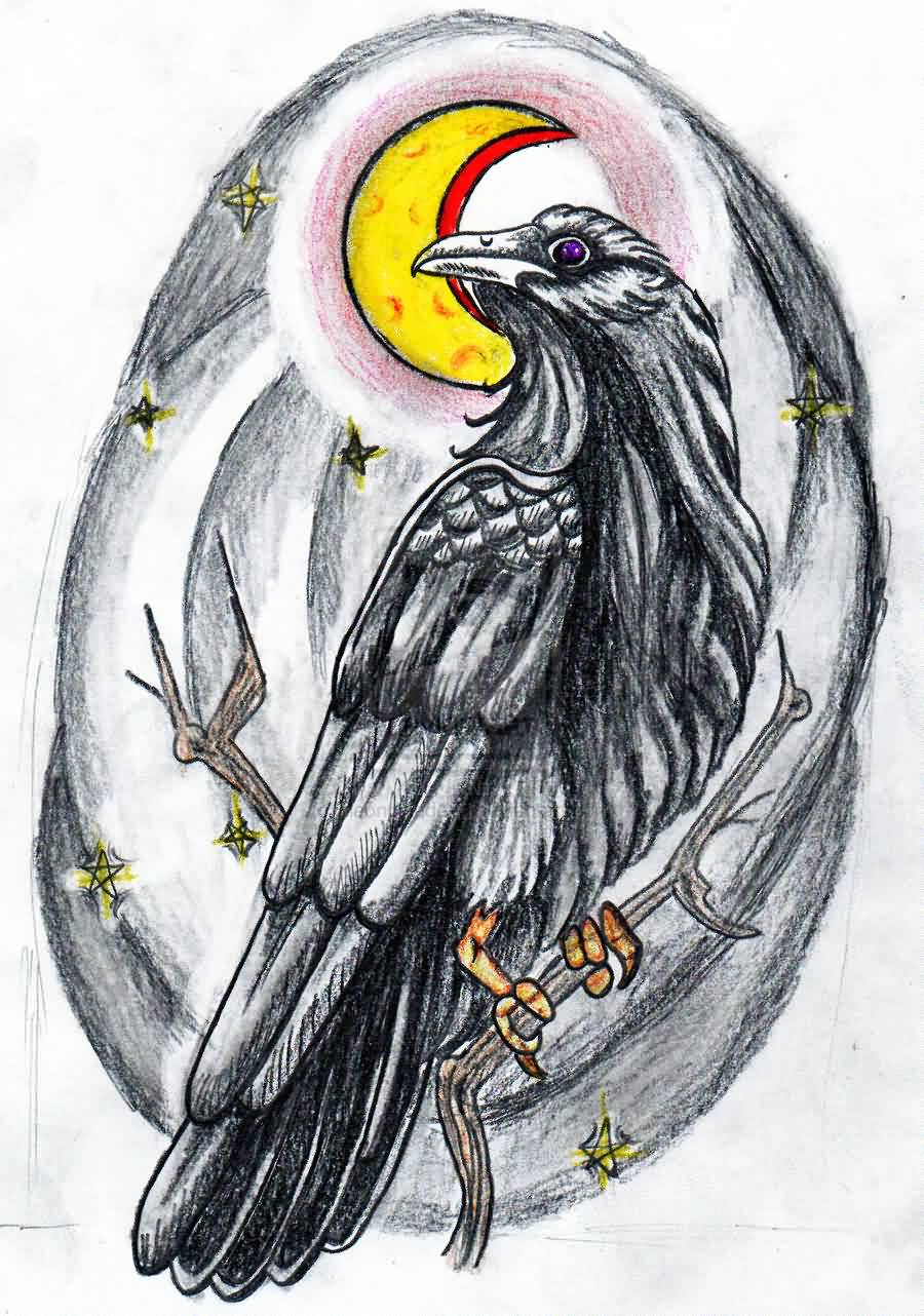 Old School Moon And Crow Tattoo Design