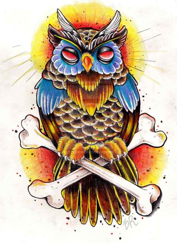 Old School Owl And Bones Tattoo Design