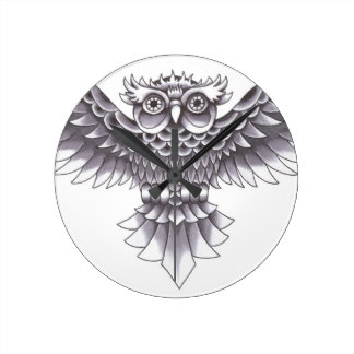 Old School Owl Clock Tattoo Design