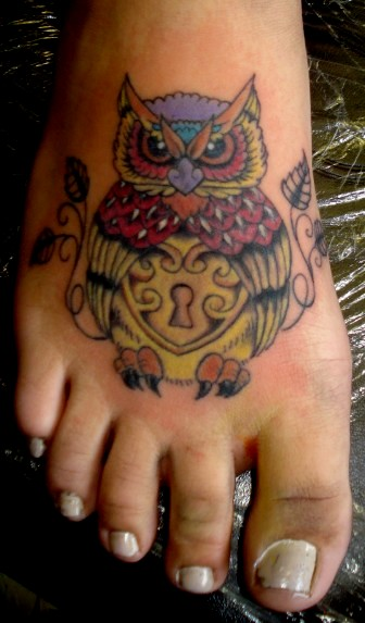 Old School Owl Tattoo On Foot