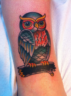 Old School Owl Tattoo