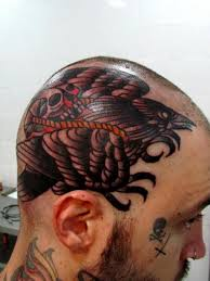 Old School Skull And Crow Tattoos On Head