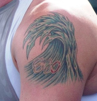 Olympic Logo In Blue Wave Tattoos On Shoulder