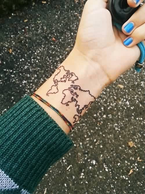Once Again World Map Tattoo On Wrist