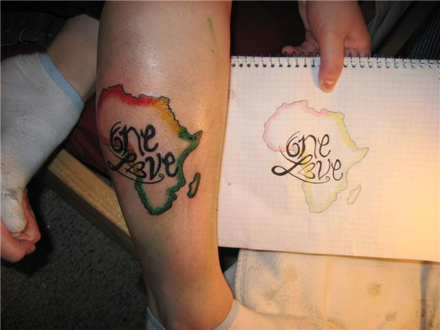 One Love African Map Tattoo On Right Leg