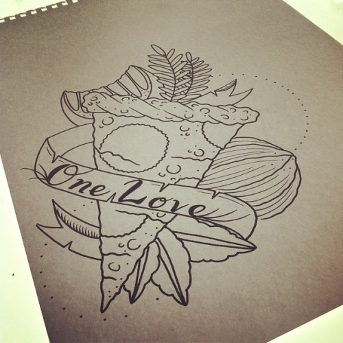 One Love Pizza Tattoo Design