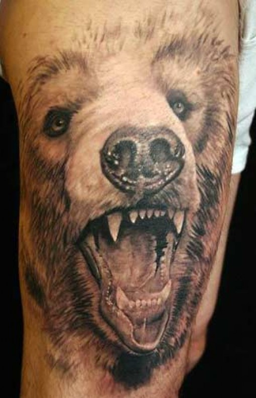 Open Mouth Wolf Face 3D Tattoo