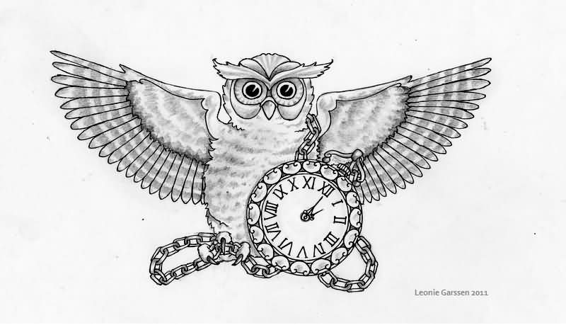 Open Wings Owl And Clock Tattoo Designs