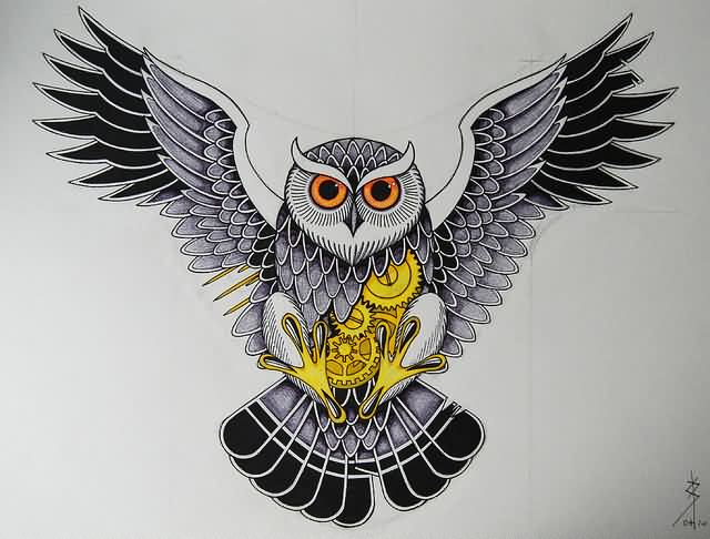 Open Wings Owl And Gears Tattoo Design