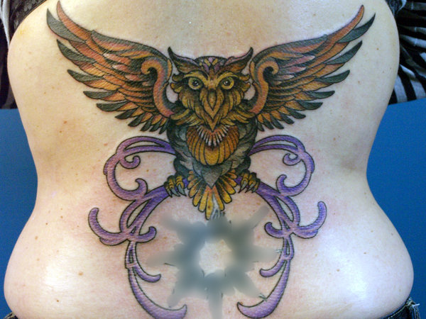 Open Wings Owl Tattoo On Back