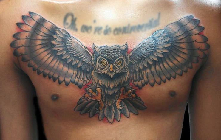 Open Wings Owl Tattoo On Chest