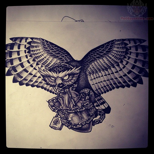 Open Wings Owl With Barbed Heart Tattoo Design