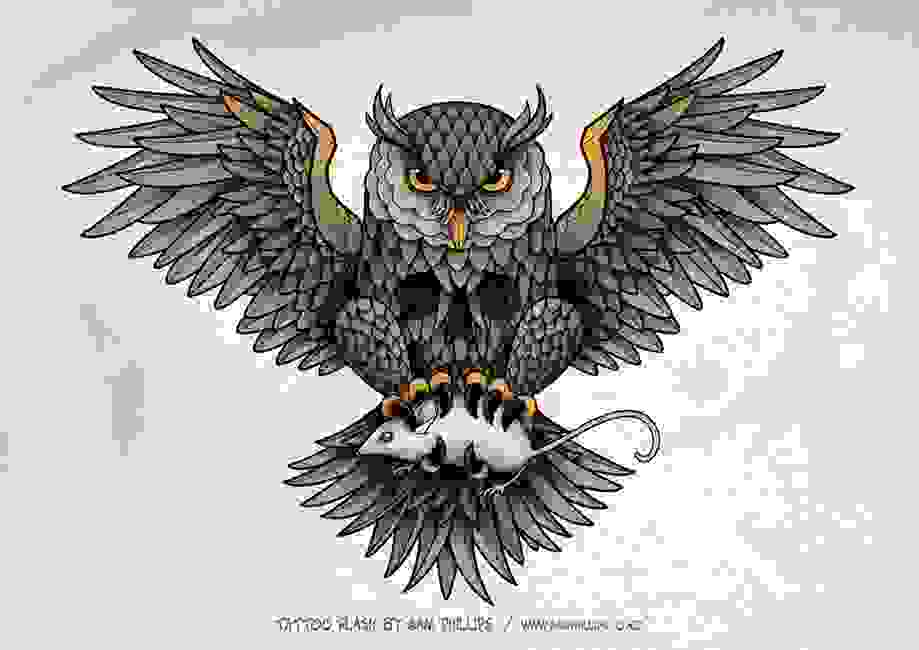Open Wings Owl With Rat Tattoo Print
