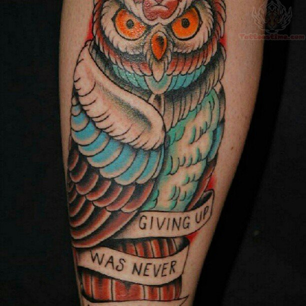 Orange Eyed Owl And Inspirational Banner Tattoos