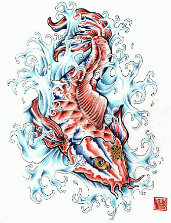 Oriental Asian Cartoon Comic Ccolor Koi Water Waves Tattoo Design