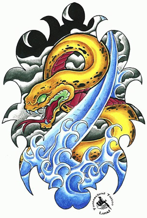 Oriental Asian Cartoon Comic Color Snake Waves Water Tattoo Design