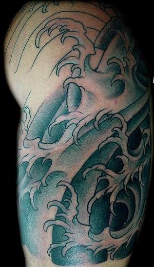 Oriental Waves Half Sleeve Tattoos
